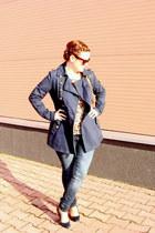 navy Zara coat - Orsay jeans - c&a sunglasses