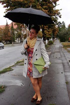 beige Orsay coat - peach floral print Stradivarius dress - light yellow scarf