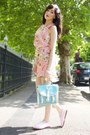 Pink-love-clothing-dress-sky-blue-blue-cute-bag-oasap-bag