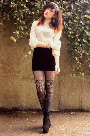 black OASAP boots - black Claires tights - cream Zara blouse