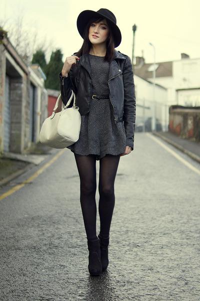 black Miss Selfridge boots - black black 60s hat Miss Selfridge hat