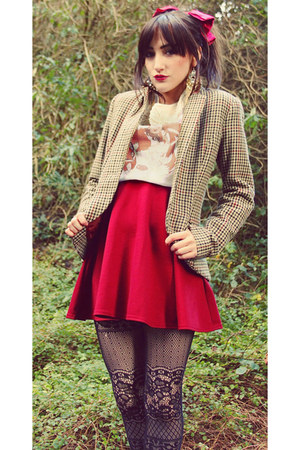 camel H&amp;M blazer - black Claires tights - white Dizzy Little Dotty t-shirt