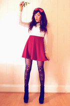 red new look skirt - black OASAP boots - white I WEAR SIN top