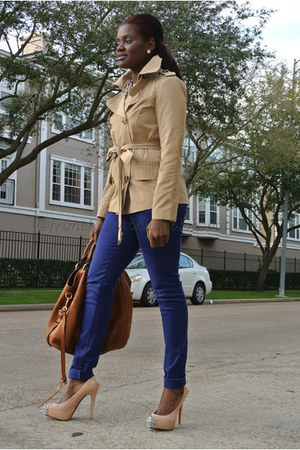Burberry jacket - leather Prada bag - Zara pants