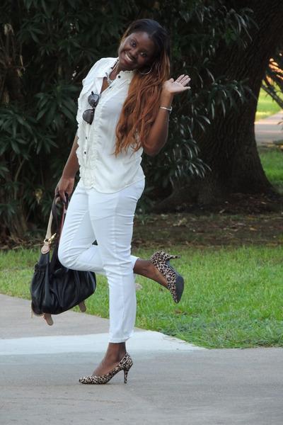 white Zara pants - black Nine West bag - dark brown Forever 21 pumps