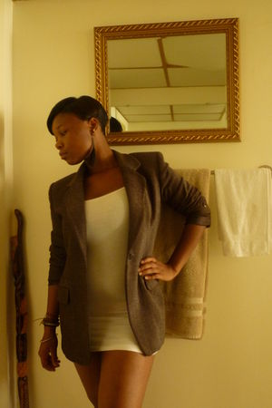 brown thrifted blazer - white American Apparel dress