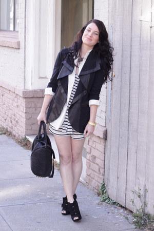 Alice and Olivia jacket - Alexander Wang bag - vintage blouse - Jcrew romper - F