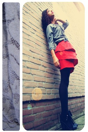 heather gray lace detailing Only sweater - black Primark heels - red H&M skirt
