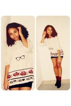 black black glasses Claires necklace - ivory sweater - black Primark skirt