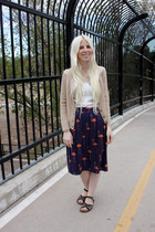 navy Anthropologie skirt - ivory banana republic shirt