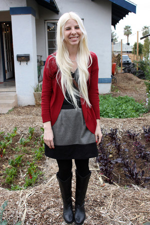 Target cardigan - Frye boots - Target shirt - We Love Colors tights