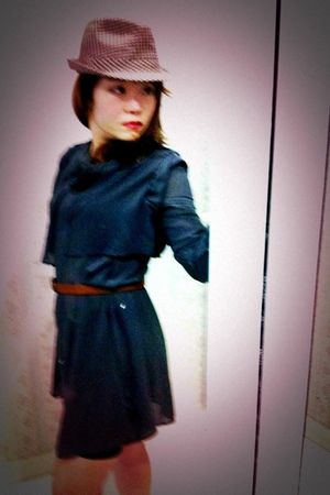 brown Zara hat - green AURA dress - brown belt
