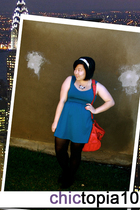 blue dress - red purse - black tights