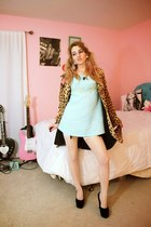 light blue vintage dress - tan leopard print vintage coat