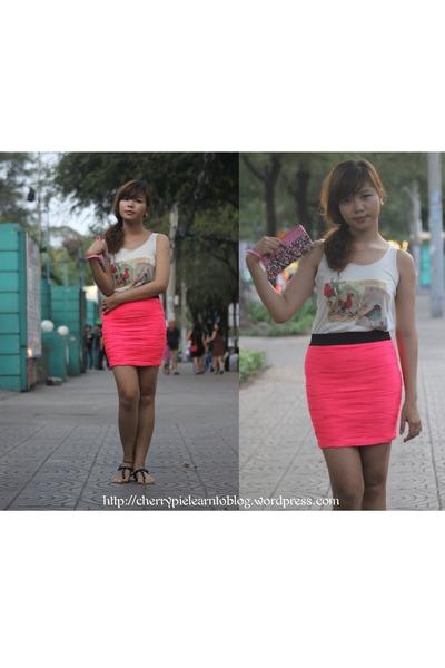 hot pink Neon skirt skirt