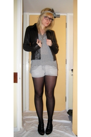 Topshop t-shirt - thrifted shorts - H&M jacket - Newlook shoes - Ebay glasses -