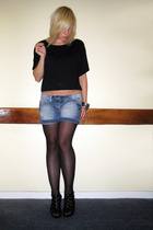 DIY t-shirt - thrifted shorts - Primark tights - Newlook shoes - River Island br