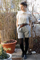 gray Zara shorts - brown belt - H&M blouse - Ebay necklace