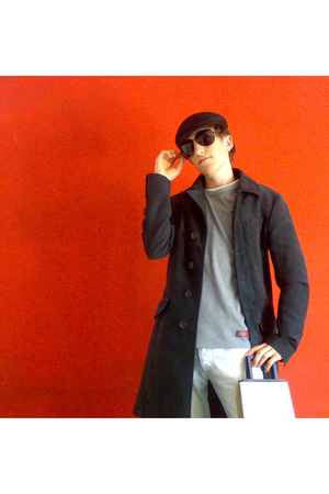 Burberry coat - Burberry sweater - McQ jeans - vintage hat