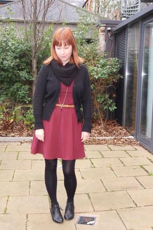 cotton-lycra Topshop dress - pvc new look boots - wool cardigan cardigan