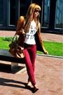 Maroon-bershka-jeans-tawny-bershka-blazer-brown-primark-bag