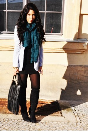 black over the knee Steve Madden boots - black asos dress - gray Zara blazer - t