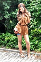 tawny Tally Weijl purse - blue JET shorts - brown Bebe belt - tawny Vero Moda to