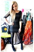 black Desire Clothing dress - black Primark bag - black Avant Chic stockings - b