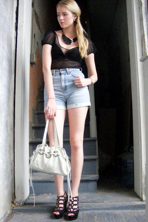 black Betsey Johnson blouse - blue Levis shorts - white Miu Miu purse - black BC