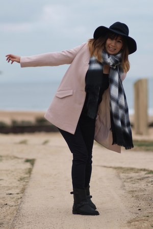 navy asos hat - black Mango boots - light pink Color block coat