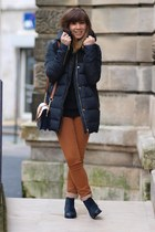 navy caroll boots - navy Zara coat - black Zara sweater - navy Accessorize bag