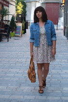 sky blue Active Wear jacket - beige Zara dress - brown Topshop clogs