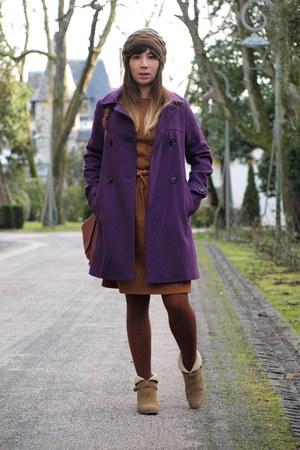 camel sessun boots - burnt orange sessun dress - deep purple sessun coat