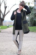 tan BESSON boots - army green asos coat - black monoprix sweater