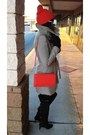 Black-kelsi-dagger-boots-silver-h-m-coat-carrot-orange-shoulder-bag-h-m-bag