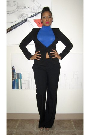 black suit pants Zara pants - black lapel-less TOV blazer - blue Forever21 shirt