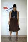 Dark-brown-corduroy-ralph-lauren-skirt-black-cropped-tank-forever21-top