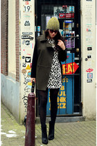 dalmatian print H&M dress - black wedge Zara boots - oversized Mango coat
