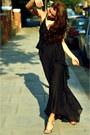Black-silklong-theyskens-theory-dress-black-strappy-gold-jimmy-choo-sandals
