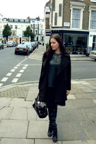 black Kurt Geiger boots - wool oversized Mango coat - black Dolce & Gabbana bag