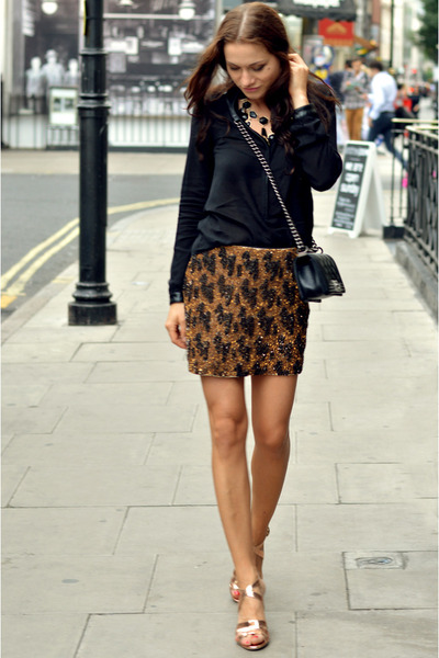 gold sequins Zara skirt - black silk loose Zara shirt