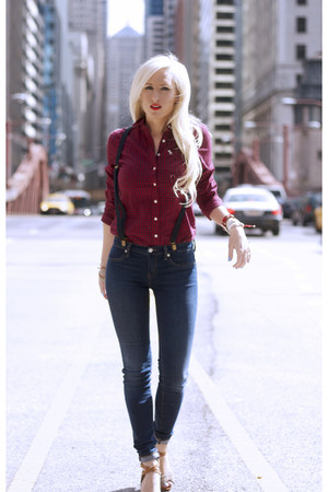 ruby red abercrombie and fitch shirt - navy skinny jeans Henry &amp; Belle jeans