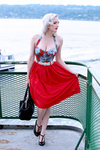 red midi Tara Starlet skirt - black satchel old purse
