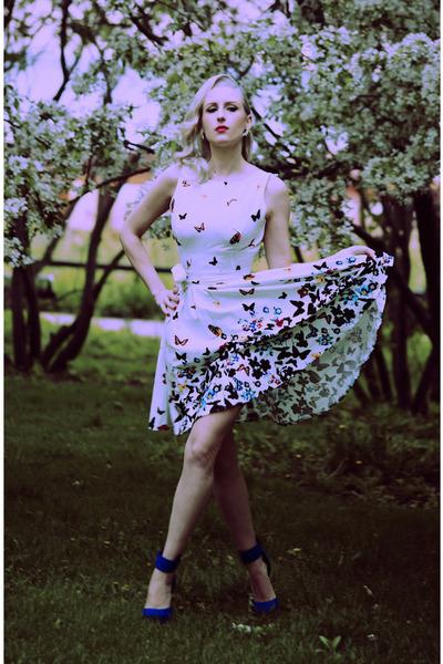 white spring Lady Vintage dress - blue ankle strap Charlotte Russe heels