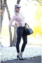 gray reversible Bleulab jeans - light pink soft Forever 21 sweater