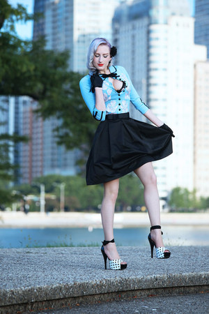 black fall OASAP skirt - black satin vintage gloves
