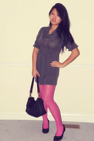 silver Macys dress - pink Filenes tights - black elliot lucca purse - gray asos