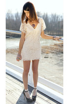 peach lace cotton ChiccaStyle dress - peach Calzedonia socks - brown ChiccaStyle