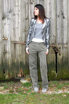 silver sequined jacket no brand blazer - army green rare nolita pants - gray cot