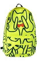 Neon Green Backpack with Bow Cat Print